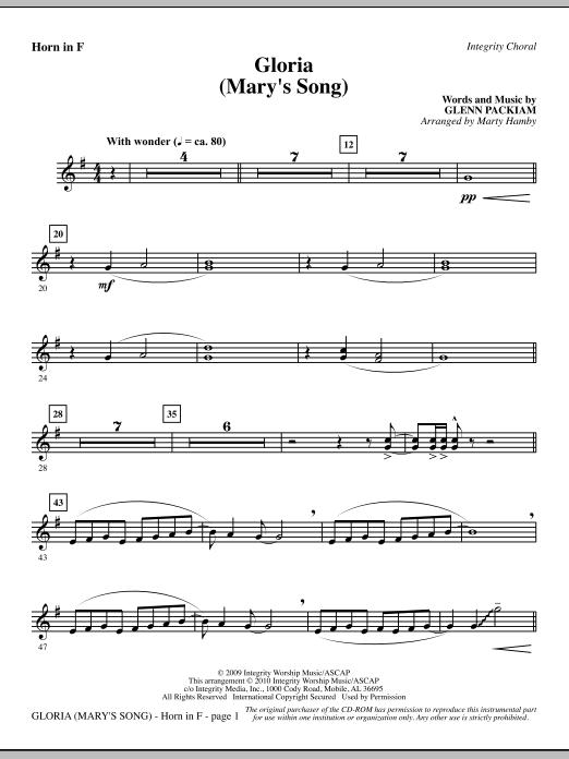 Gloria (Mary's Song) - F Horn sheet music