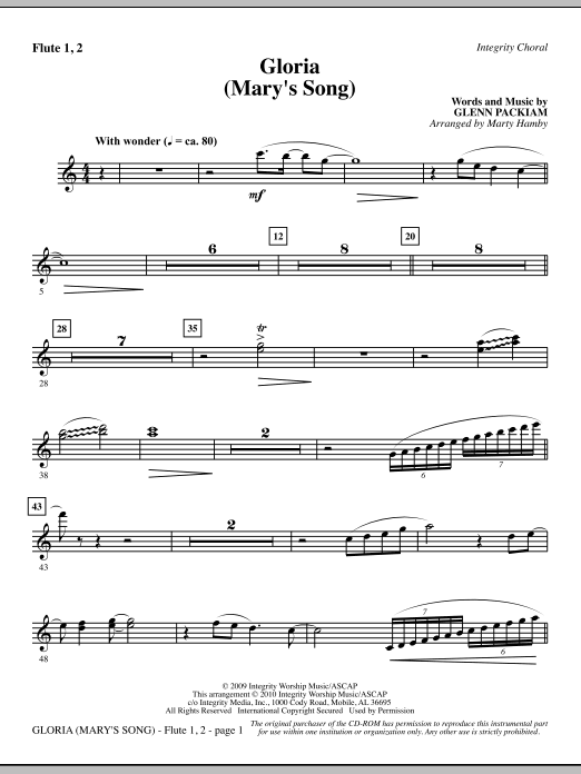 Gloria (Mary's Song) - Flute 1 & 2 sheet music