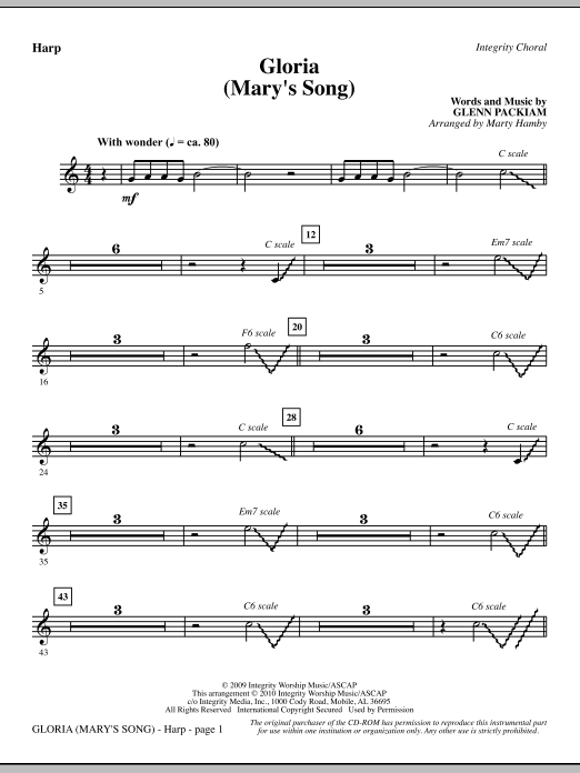 Gloria (Mary's Song) - Harp sheet music