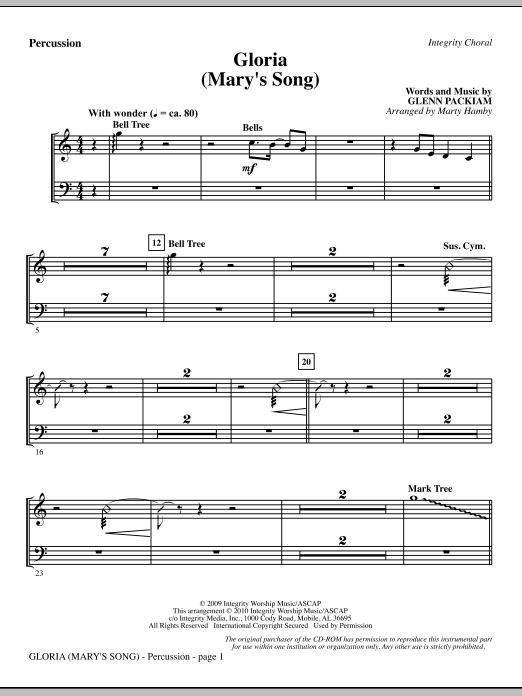 Gloria (Mary's Song) - Percussion sheet music