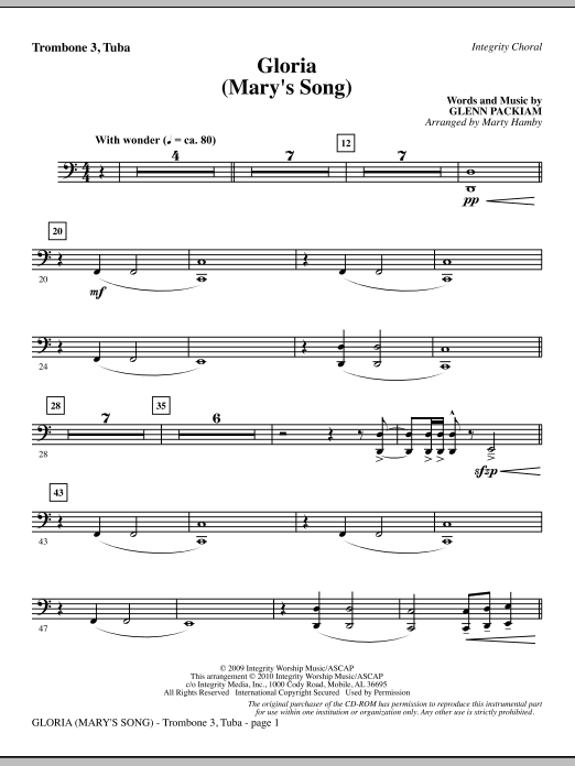 Gloria (Mary's Song) - Trombone 3/Tuba sheet music