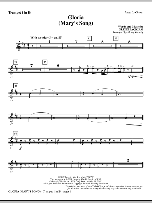 Gloria (Mary's Song) - Trumpet 1 sheet music