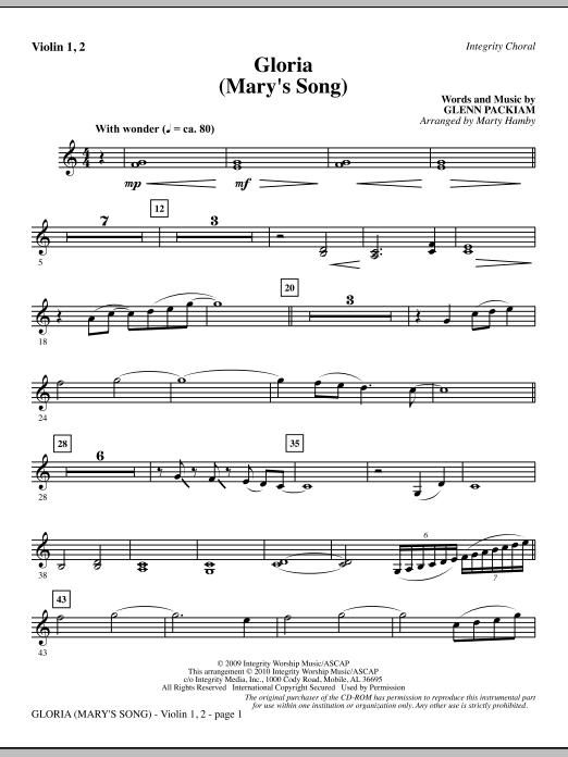 Gloria (Mary's Song) - Violin 1, 2 sheet music