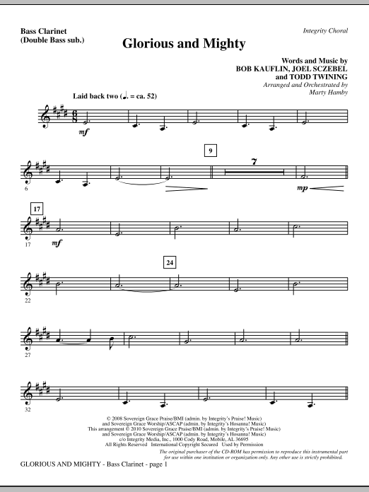 Glorious And Mighty - Bass Clarinet (sub. dbl bass) sheet music