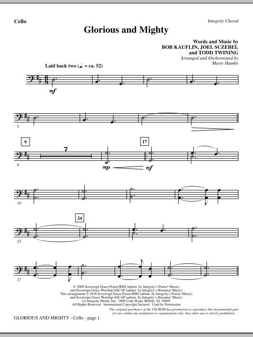 Glorious And Mighty - Cello sheet music