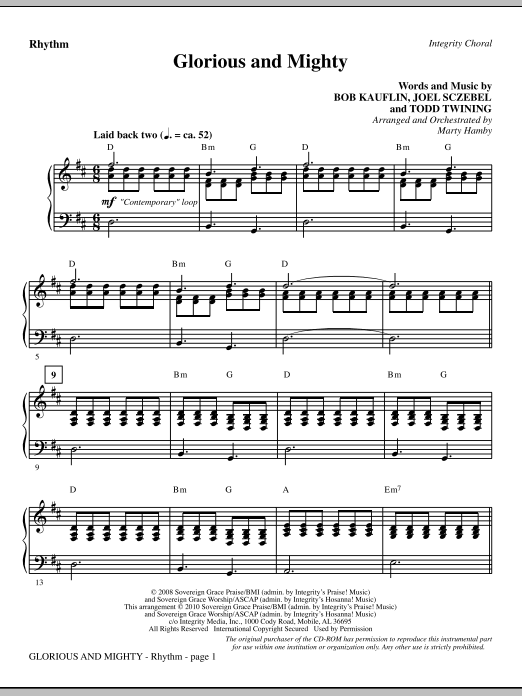 Glorious And Mighty - Rhythm sheet music