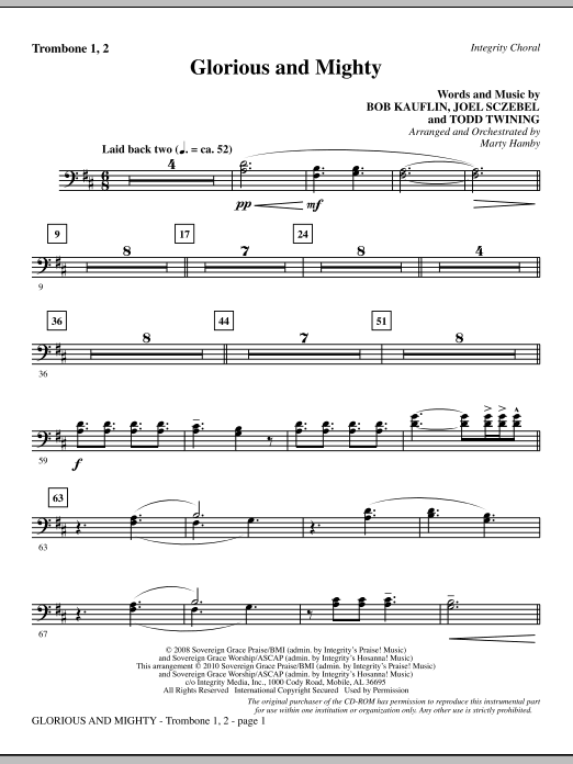 Glorious And Mighty - Trombone 1 & 2 sheet music