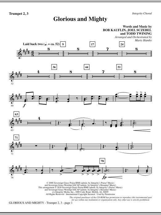 Glorious And Mighty - Trumpet 2 & 3 sheet music