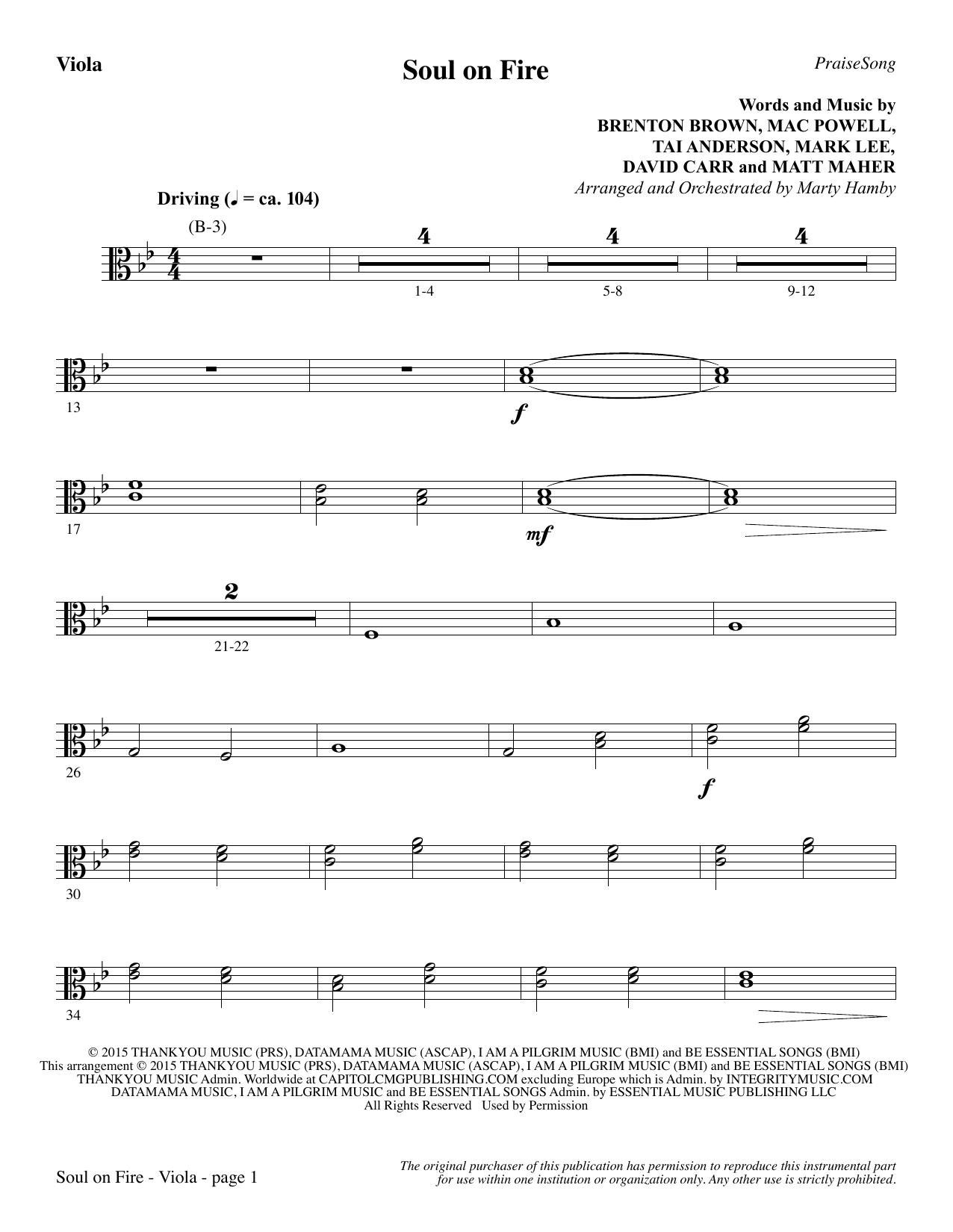 Soul on Fire - Viola sheet music