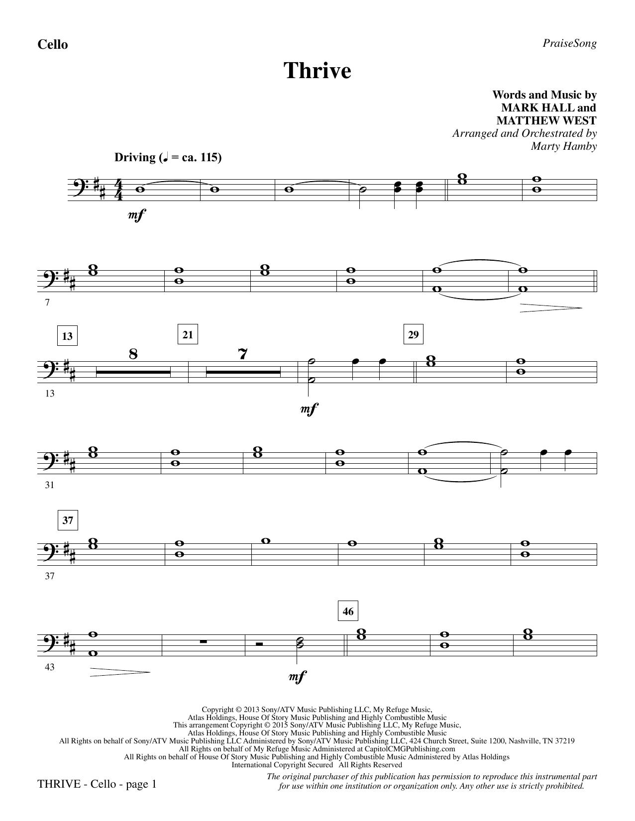Thrive - Cello sheet music