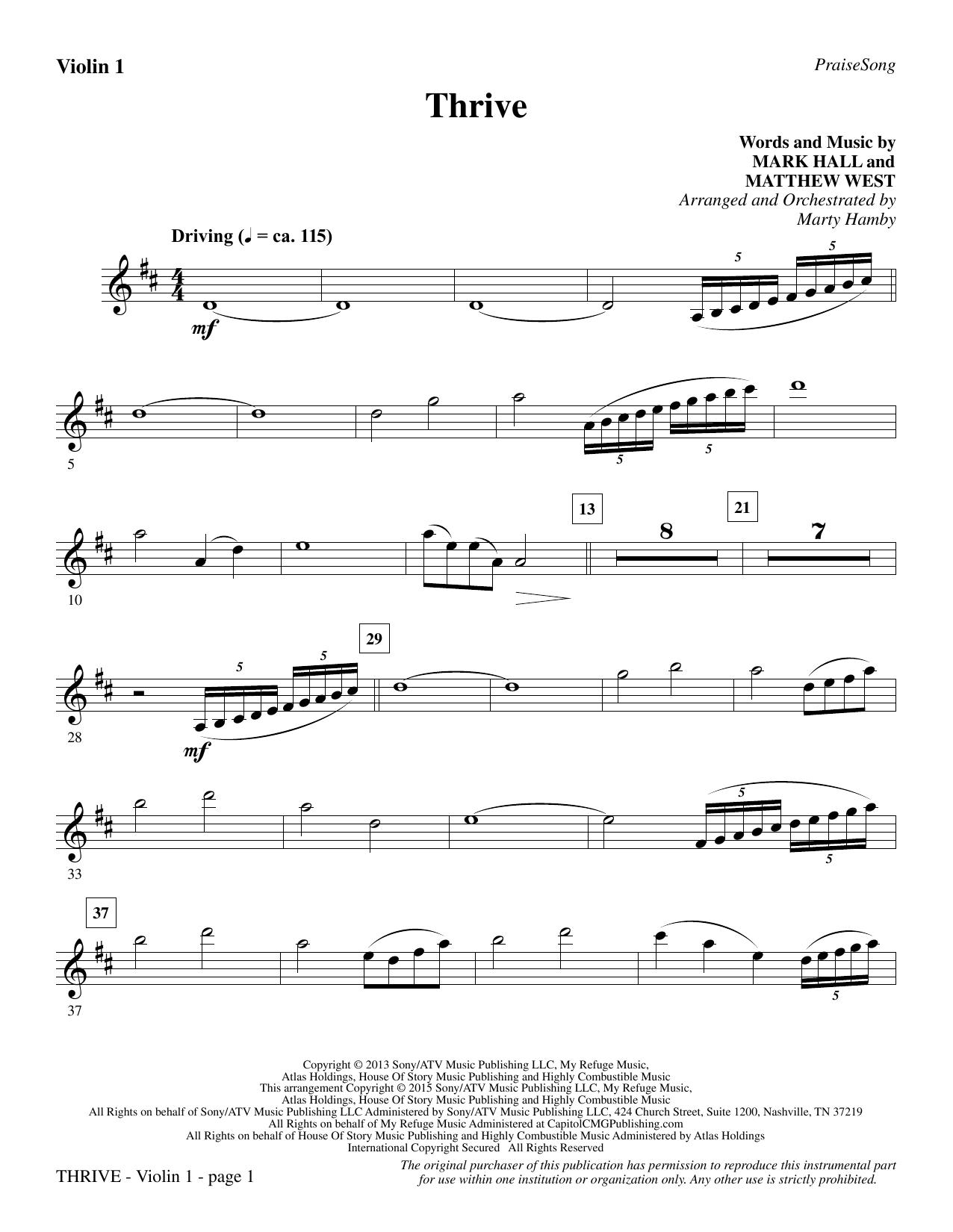 Thrive - Violin 1 sheet music