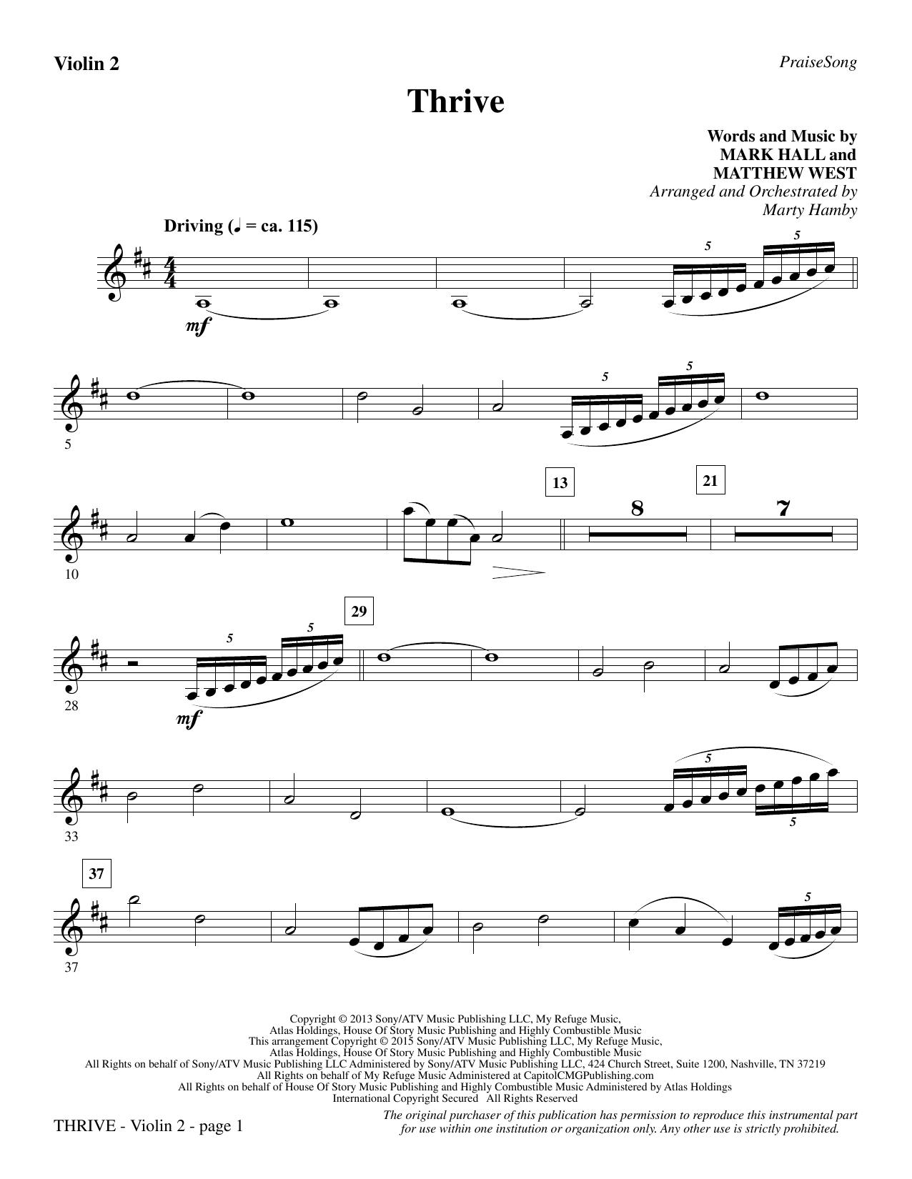 Thrive - Violin 2 sheet music