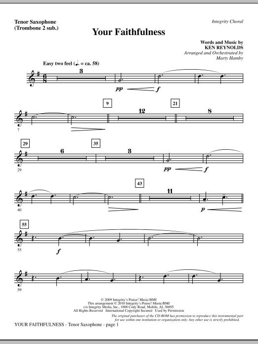 Your Faithfulness - Tenor Sax (sub. Tbn 2) sheet music