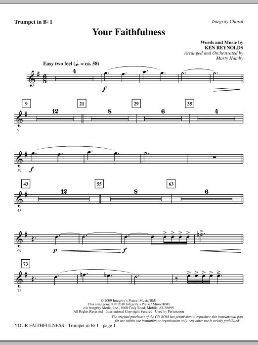 Your Faithfulness - Trumpet 1 sheet music