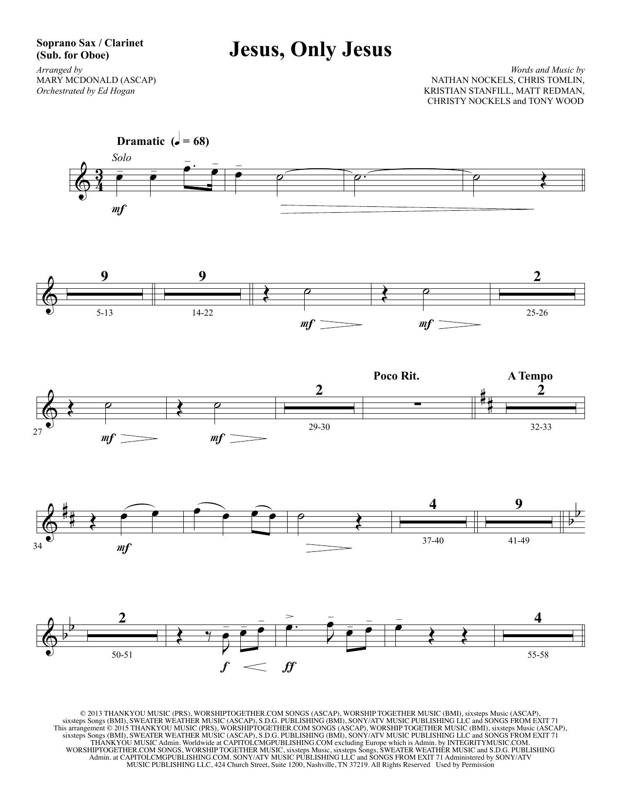 Jesus, Only Jesus - Soprano Sax/Clarinet(sub oboe) sheet music