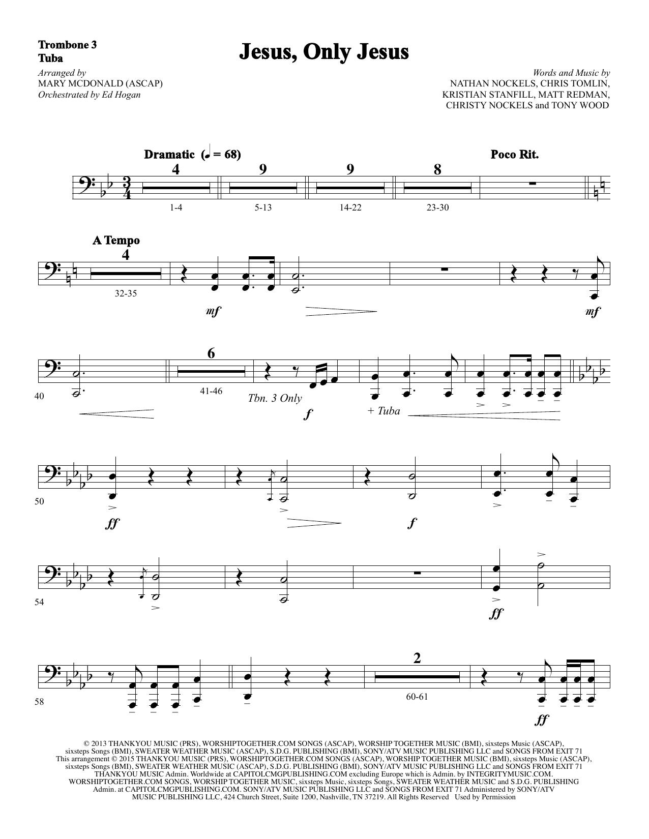 Jesus, Only Jesus - Trombone 3/Tuba sheet music