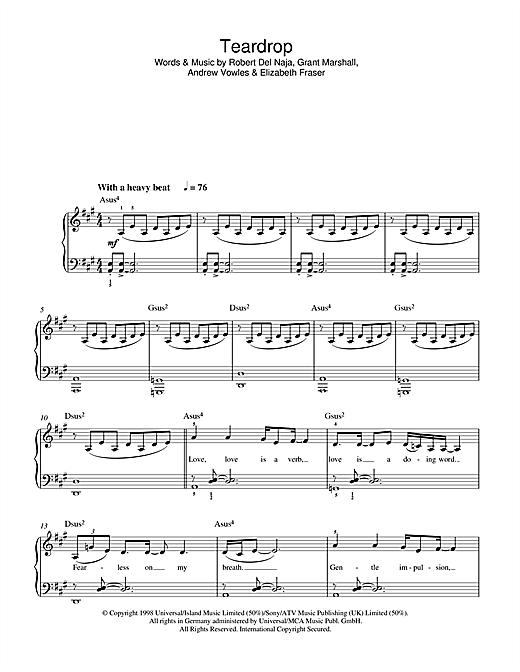 Teardrop sheet music