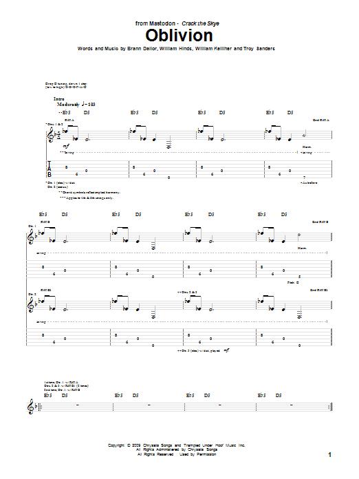 Oblivion sheet music