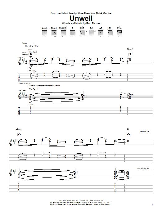 Unwell sheet music