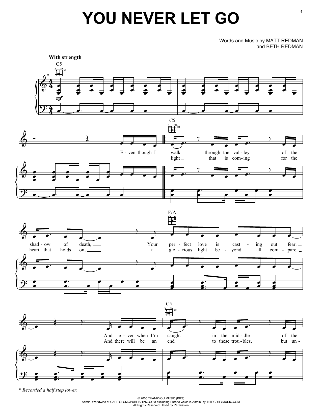 You Never Let Go sheet music