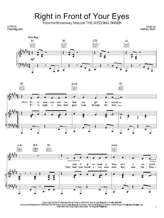 Right In Front Of Your Eyes sheet music
