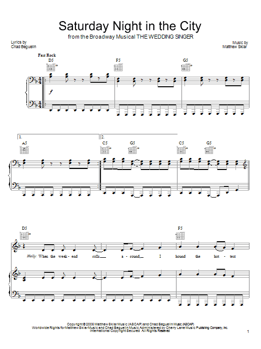 Saturday Night In The City sheet music