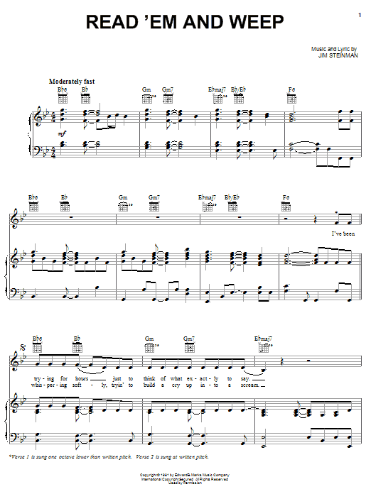Read'em And Weep sheet music