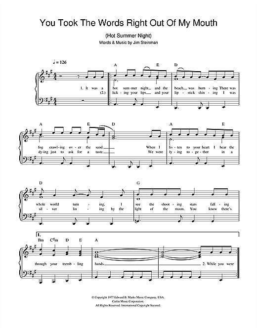 You Took The Words Right Out Of My Mouth (Hot Summer Night) sheet music