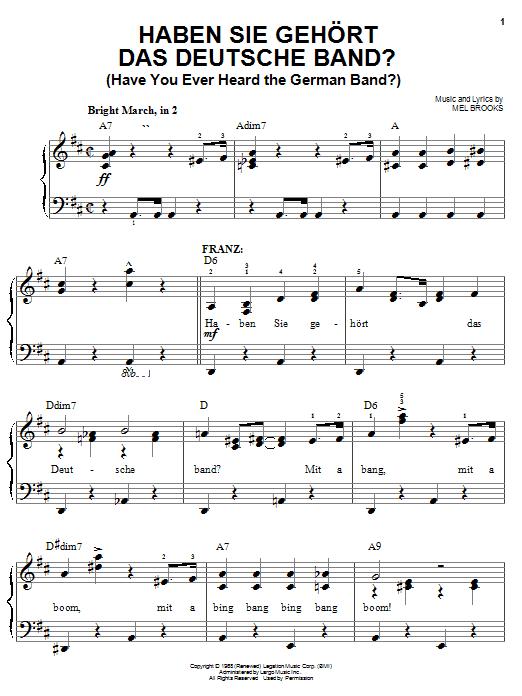 Haben Sie Gehort Das Deutsche Band? (Have You Ever Heard The German Band?) sheet music