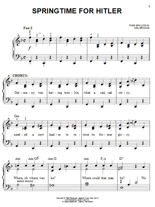 Springtime For Hitler sheet music