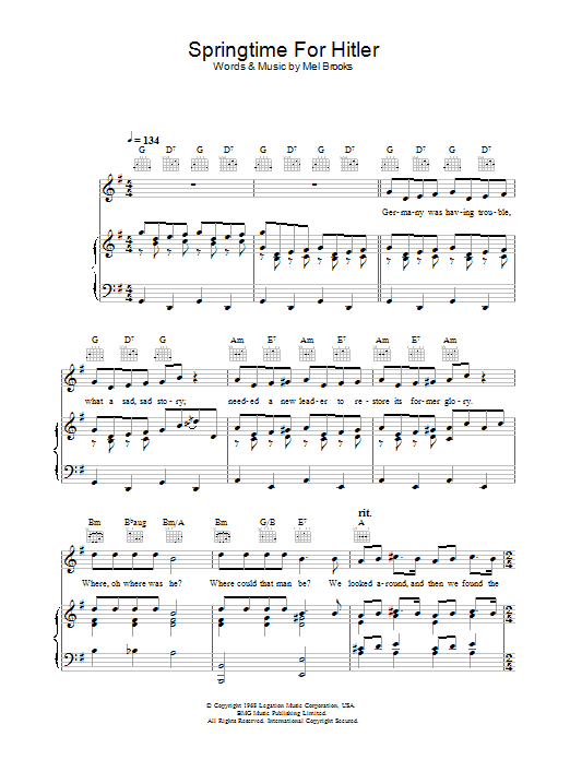 Springtime For Hitler (from The Producers) sheet music