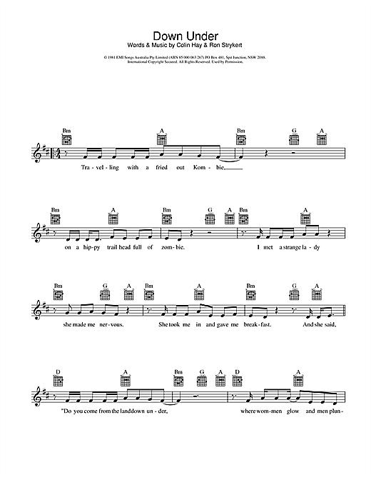 Down Under sheet music