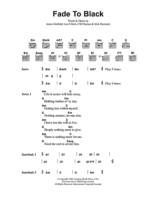 Fade To Black sheet music