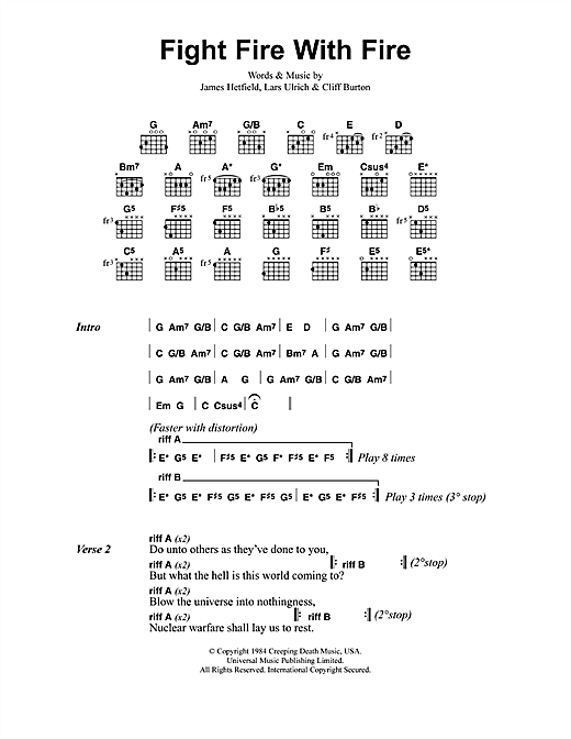 Fight Fire With Fire sheet music