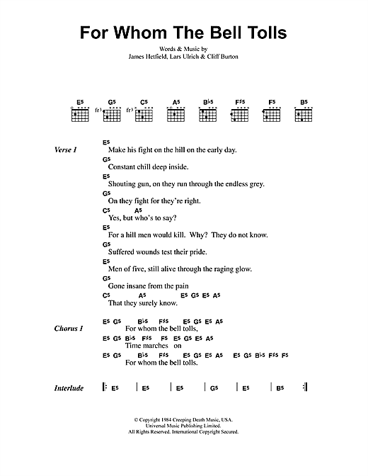 For Whom The Bell Tolls sheet music