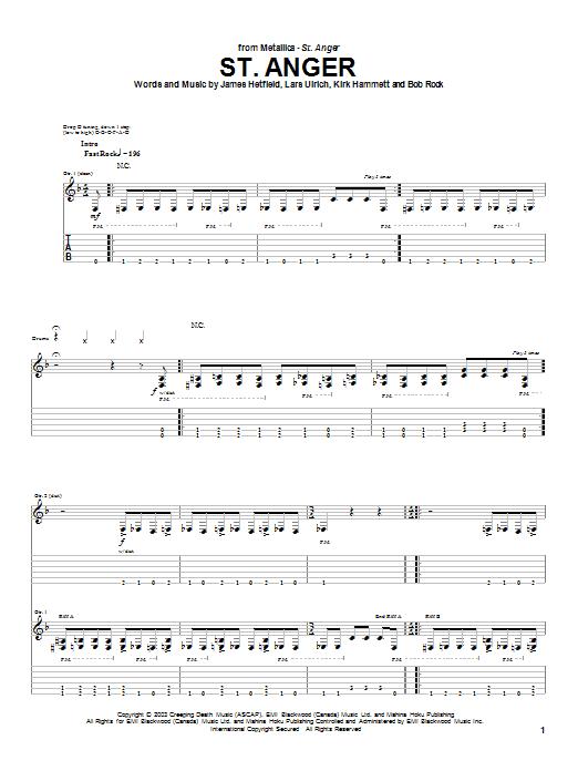 St. Anger sheet music
