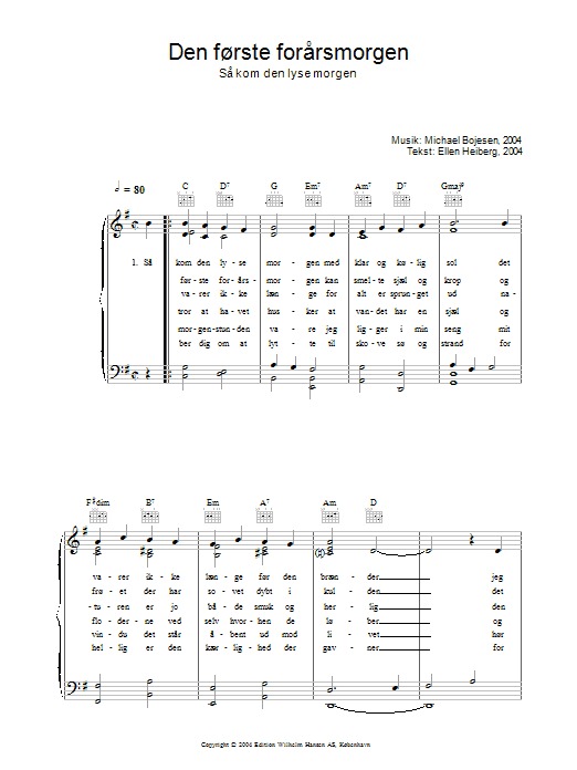 Den Første Forårsmorgenmorgen - Så Kom Den Lyse Morgen sheet music