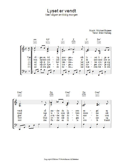 Lyset Er Vendt sheet music