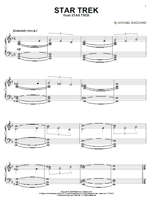 Star Trek sheet music