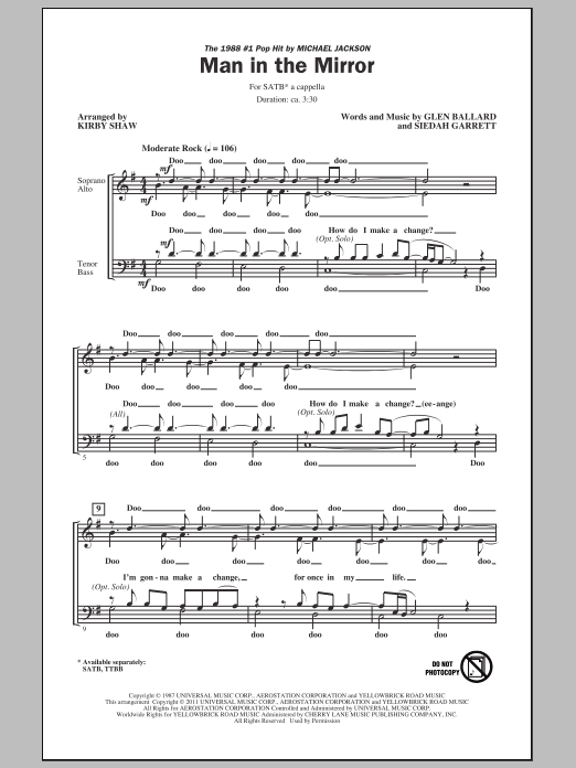 Man In The Mirror (arr. Kirby Shaw) sheet music