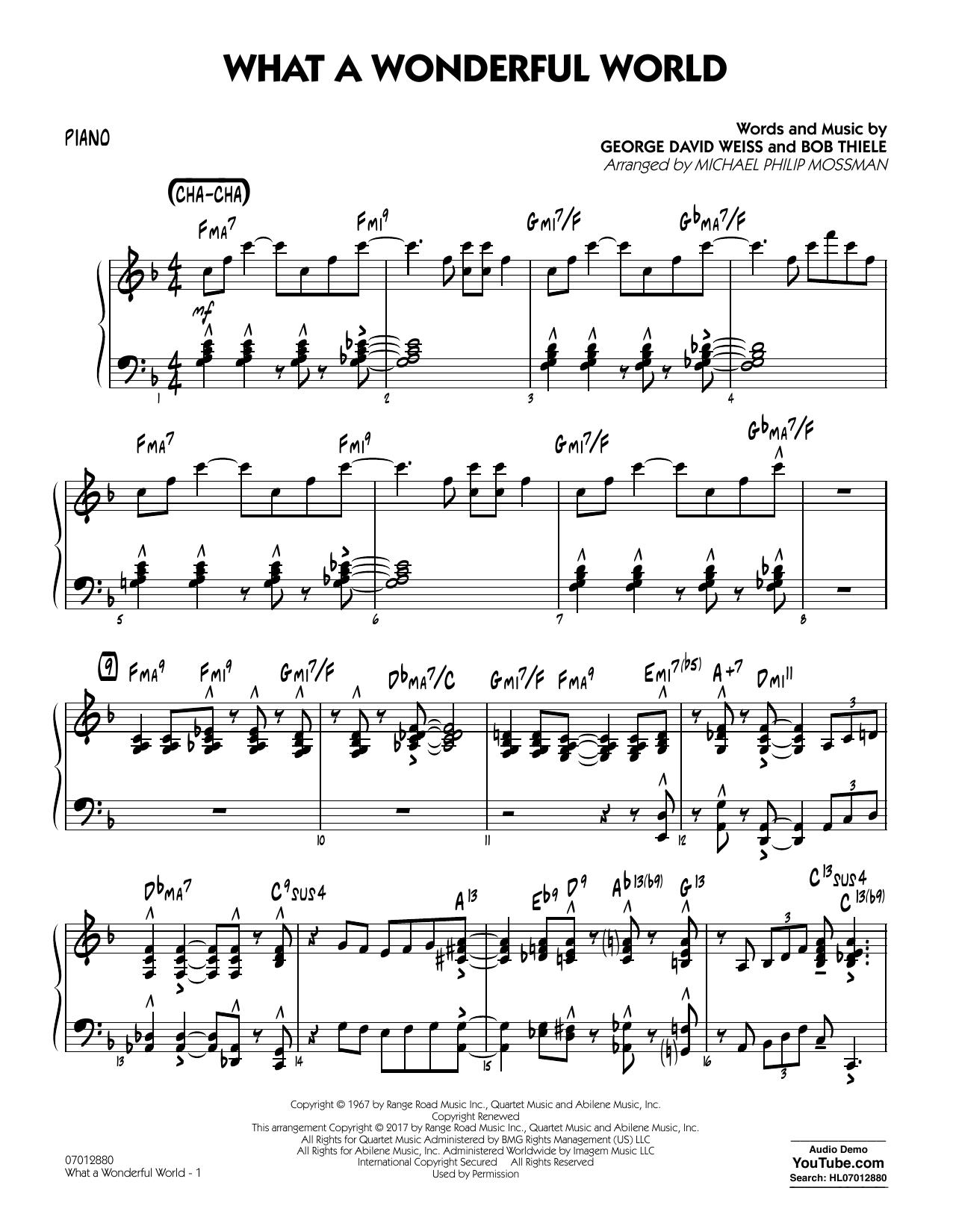 Michael Philip Mossman What A Wonderful World Dl Piano Sheet Music Download Pdf Score 367658