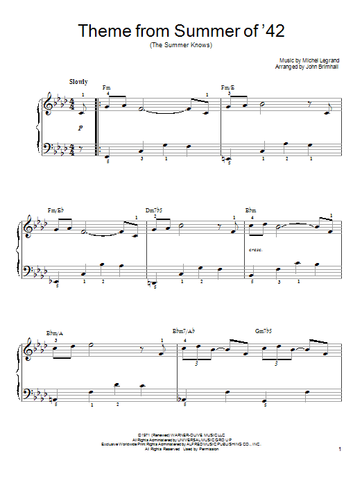 Theme From Summer Of '42 (The Summer Knows) sheet music