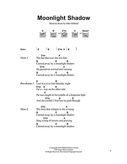 Moonlight Shadow sheet music