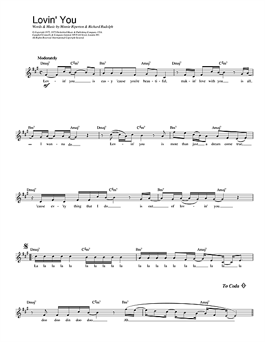 Lovin' You sheet music