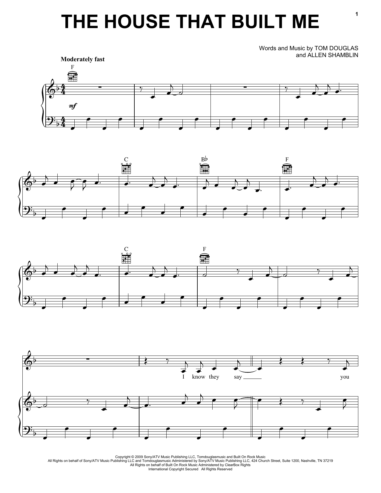 The House That Built Me sheet music