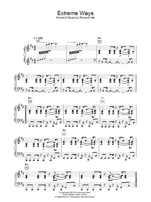 Extreme Ways sheet music