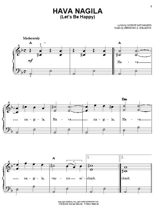 Hava Nagila (Let's Be Happy) sheet music