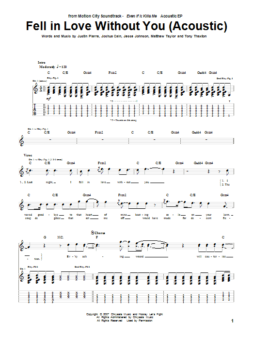 Fell In Love Without You (Acoustic Version) sheet music