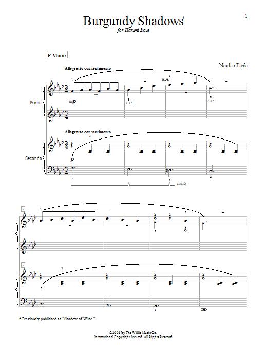 Burgundy Shadows (Shadow Of Wine) sheet music