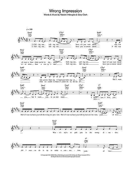 Wrong Impression sheet music
